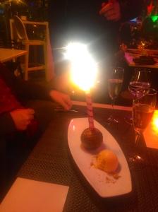 Restaurant-made giant Ferrero Rocher ball (on fire)